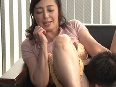 Asian mature with saggy tits rides dick after sucking it