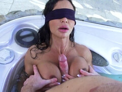 Blindfolded woman got cum on her face