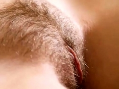 Hirsute mature amateur in panties spreads her cunt