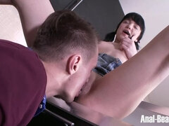 Pigtailed Brunette Discovers the Anal Pleasures