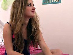 Slim teen schoolgirl Marissa Mae takes her more experienced brother's large dick