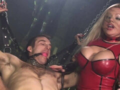 Latex goddess Cindy Behr fucks her personal slaveboy