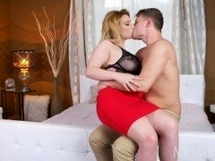 MOM Curvy natural milk sacks MILF loves to play with less seasoned guys huge penis