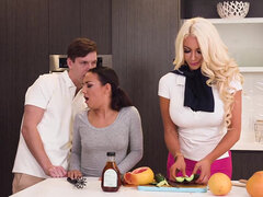 Public 3some fuck show with cum eating with Nicolette Shea & Amara Romani