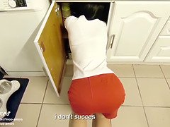 Stepmom fucked and creampied by stepson while she's stuck under the sink