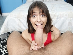 Small-tit chick Izzy Bell is enjoying dick riding so much