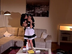Petite Maid Humiliated: Small Ass Crammed With Huge Cock