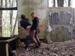 Crempie his ass on abandoned (public pegging)