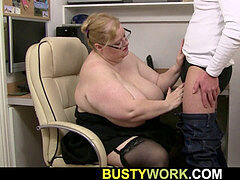 ginormous hooters secretary gives titjob and rides boss lollipop