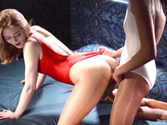 sexy lesbian girls make enjoy in shining leotard and shiny tights