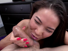 Kalina Ryu pulls out your love pole and plus gives a great blowjob