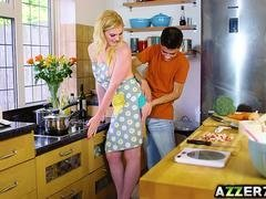 Pretty Carly Rae fucks with bf in the kitchen