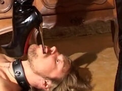 Femdom leather masked boot sub gets cbt & handjob