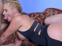 A blonde with awesome pigtails and furthermore sizeable tits is fucking a pair of fellas