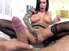 Inked bombshell squirts during anal ride on director's rod