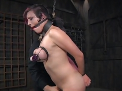 Cuffed bdsm sub caned and plus whipped by her dom