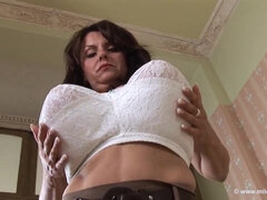 Mature mom Milena Velba and her monster tits - solo boob play