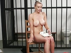 Breasty british police babe giving blowjob prisoner