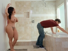 MILF Sheridan Love seduces her son's friend and fucks him in the bathroom
