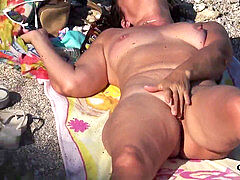 Hot and Horny Mature naturist mummy Beach hidden cam Spycam Voyeur