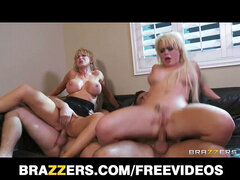 two platinum-blonde girlfriends have a 4 way with their neighbors