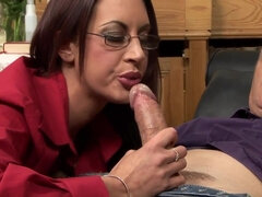 Stockings clad milf in glasses gets anally boned from the back