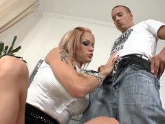 Blonde with pigtails is getting fucked in her moist fuck hole lips