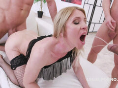 Blond Hair Babe - european gangbang and pissing