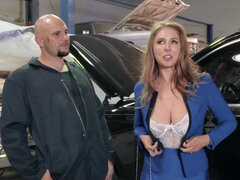 Lena Paul puts her tits & pussy to work on mechanic's cock to pay him out