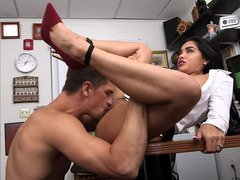 Sexy Latina unclothes in the office and besides gets her pussy licked
