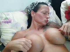 Wife jerking off in holiday