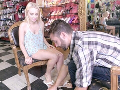 Sweet blonde with nice feet got banged
