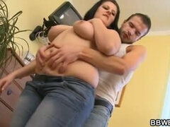 Big beautiful women is picked up and also fucked by an young dude