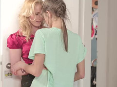 Gina Gerson & her stepmother Kathia Nobili share a morning wood in a 3way