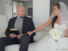 Wonderful bride Kelsi Monroe seduces and fucks the Holy father