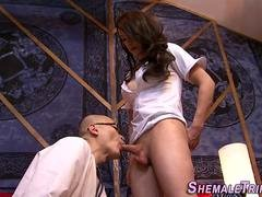 Transexual nurse rails tush