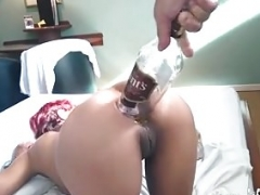 Backdoor fisting and whiskey bottle penetration