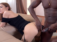 Black Filling: Brunette Teen Receives Large Cock in Both Holes