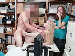 Blonde broad punished for stealing