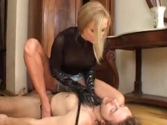 Russian femdom ballbusting & jerking slave while facesitting