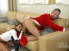 Naughty teen rimming bad Santa