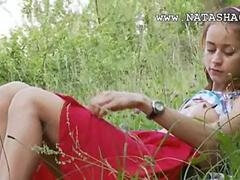 Nature blonde has fun with a dildo