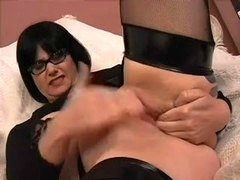 Old Brunette Michelle in Glasses, with Dildo