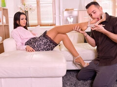 Beautiful brunette Alyssia Kent nicely penetrated by a massive dick