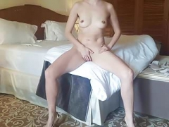 Gorgeous Wife Jacking off in Hotel