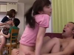 Outrageous Jav Planning Slim Legal teen Bangs Old Guy In Front Of Others In The Kitchen Bizarre Sex