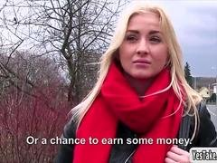 Hot European babe Cayla Lyons gobbles sizeable dick for money