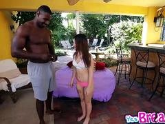 Kylie Rose swallows a sizeable black monster flag pole