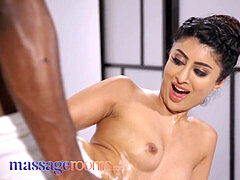 massage apartments ebony stud gives Indian babe Marina Maya huge