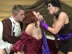 Devil woman Romi Rain and poor redhead Violet Monro in threesome